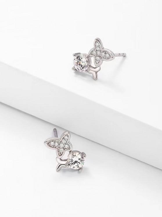 Zircon Butterfly Stud Earrings - فضة