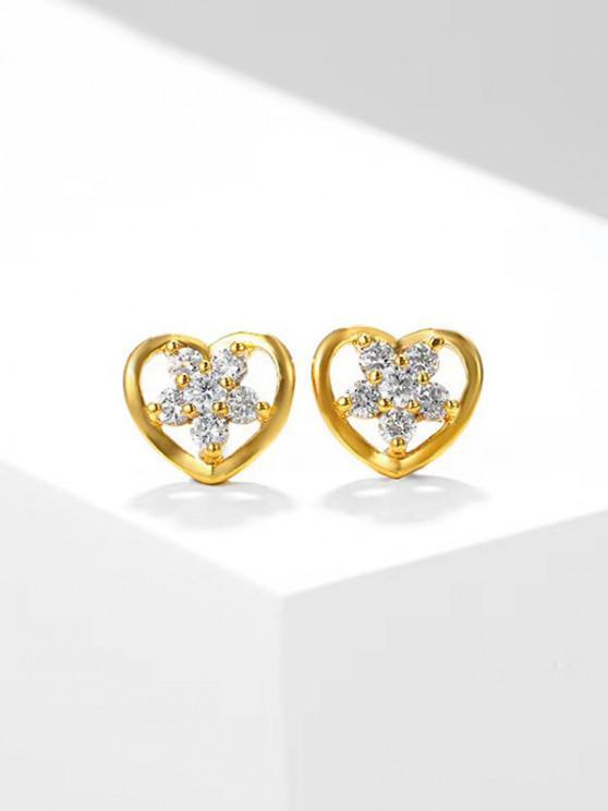 Aretes con Incrustaciones de Flor de Circón Ahuecado en Forma de Corazón - dorado