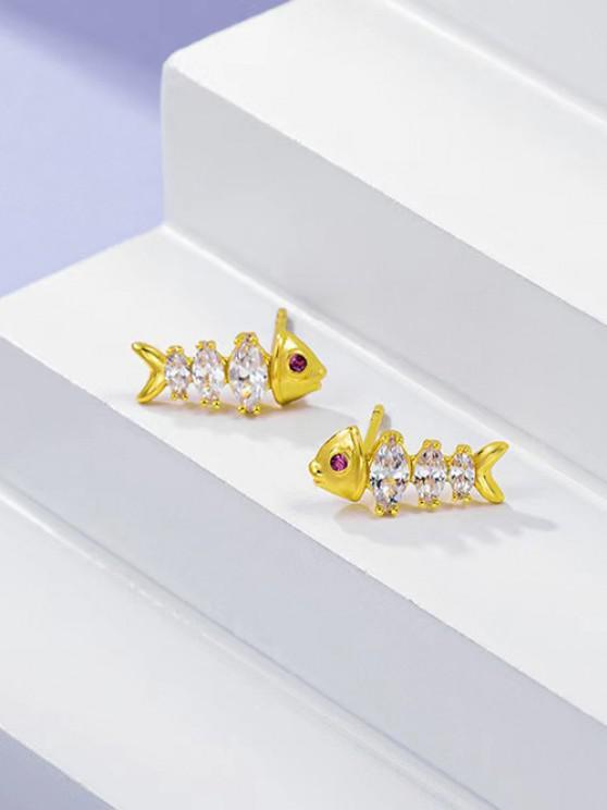 Fish Bone Shape Zircon Inlaid Plated Stud Earrings - ذهبي