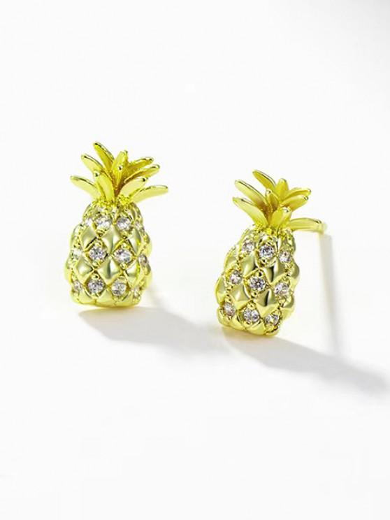 Pineapple Shape Zircon Inlaid Plated Stud Earrings - ذهبي