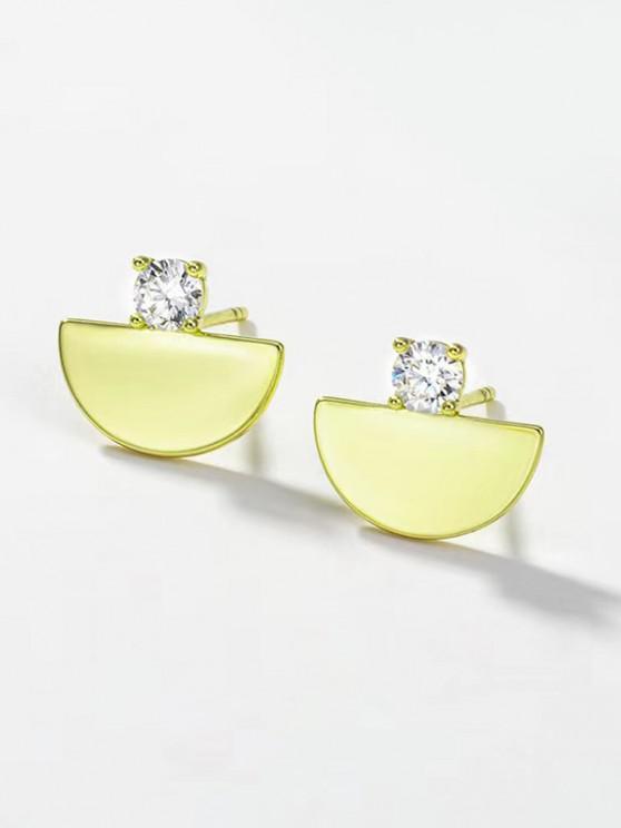 Semicircle Rhinestone Embellished Plated Stud Earrings - ذهبي