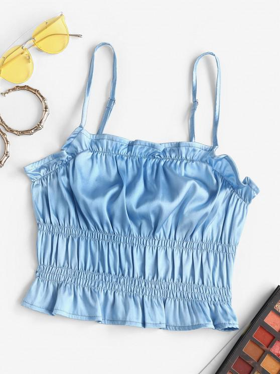 trendy Frilled Ruched Satin Camisole - BLUE M
