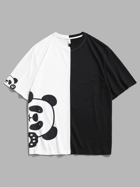 unique Panda Print Two Tone Short Sleeve Tee - WHITE M