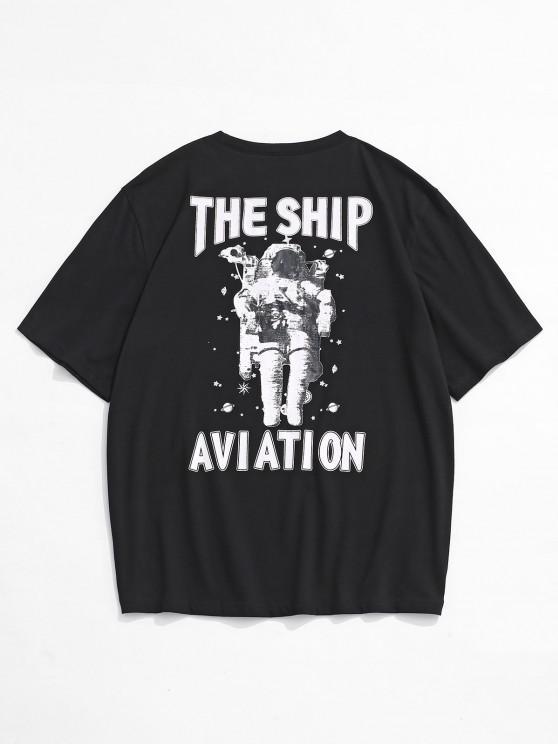 chic The Ship Aviation Astronaut Print Short Sleeve T-shirt - BLACK L