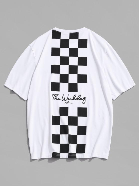 women's Letter Checkerboard Print Short Sleeve T Shirt - WHITE XL
