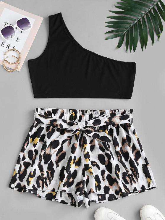 chic ZAFUL Plus Size One Shoulder Top and Leopard Paperbag Shorts Set - MULTI 2XL