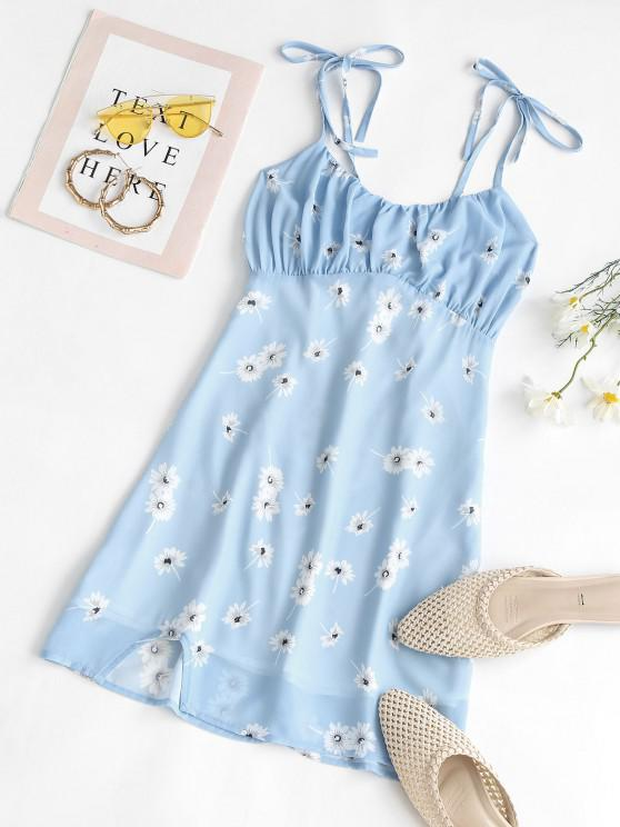 fancy Floral Tie Shoulder Slit Bodycon Dress - LIGHT BLUE L