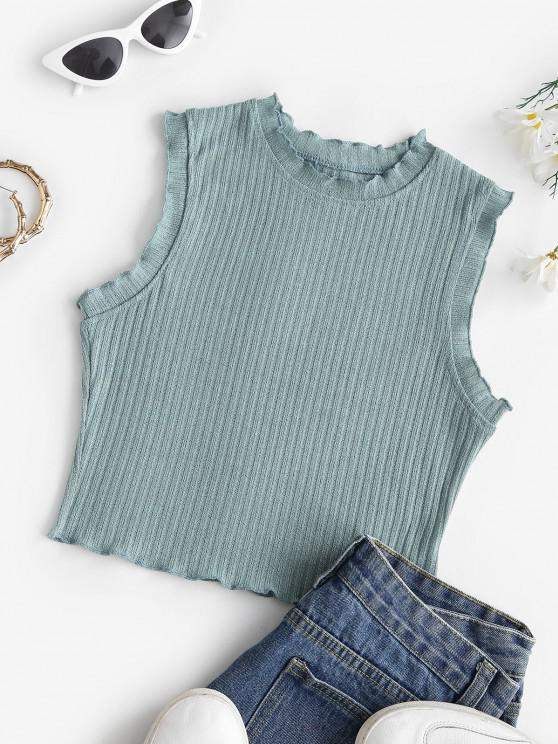outfits Lettuce Trim Rib-knit Sleeveless Crop Top - GREEN M