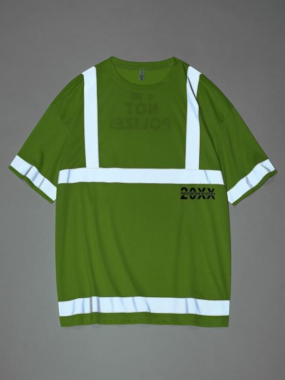 Reflektierende Panel Buchstabedruck Kurzarm T-Shirt - Grün L