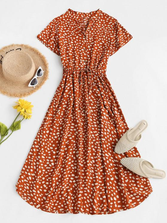 outfits Drawstring Spotted Print Half Buttoned Midi Dress - RED M