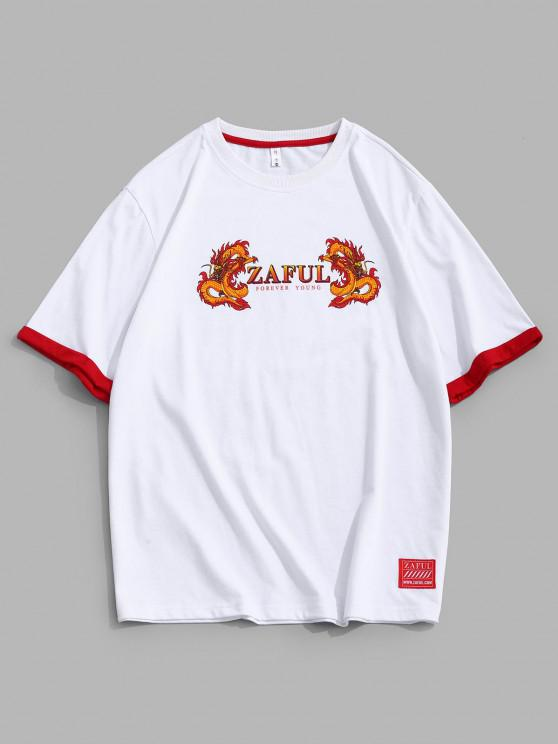 shop ZAFUL Dragon Print Short Sleeve Ringer T-shirt - WHITE 2XL