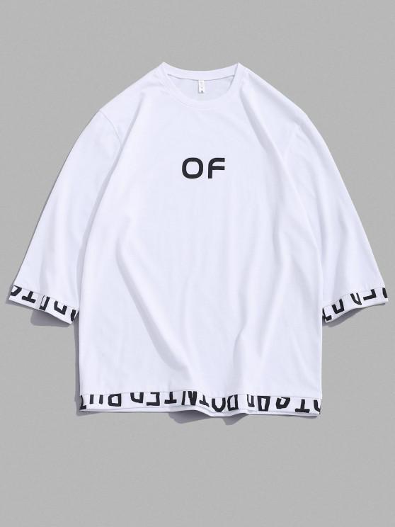 Rauchfarbe Buchstabedruck Kurzarm T-Shirt - Weiß M