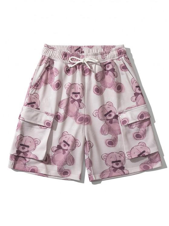Pantaloncini con Tasche con Patta di Orso Pigro - Rosso Ciliegia 2XL