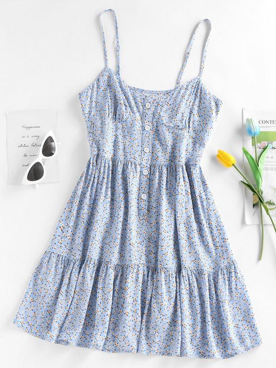 womens ZAFUL Buttons Tiny Flower Print Mini Dress - BLUE S