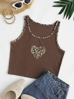Leopard Trim Heart Patch Jersey Tank Top - Coffee S