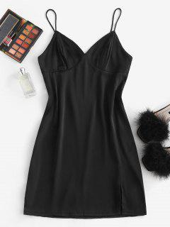 Silky Slit Bustier Cami Slip Dress - Black M