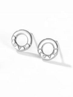 Silvery LOVE Letter Carved Round Stud Earrings - Silver