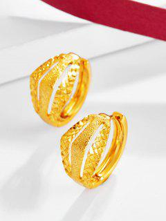 Golden Textured Cut Out Small Hoop Earrings - Golden