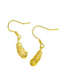 Golden Carved Leaf Pendant Hook Earrings - Golden