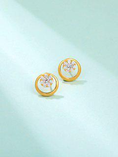 Snowflake Rhinestone Embellished Golden Round Stud Earrings - Golden