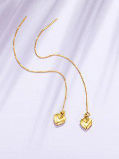 Boucles D'Oreilles Pendantes En Or Rose Motif Cœur Brillant Courbé - D'or
