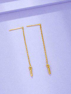 Boucles D'Oreilles Pendantes En Or Plaqué Et Zircon Incrusté - D'or