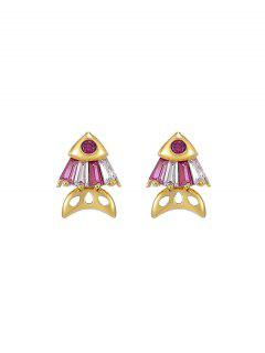 Fish Rhinestone Stud Earrings - Ruby Red