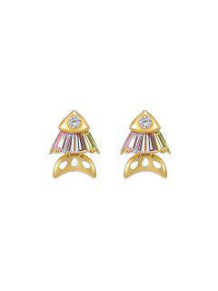 Fish Rhinestone Stud Earrings - Pink
