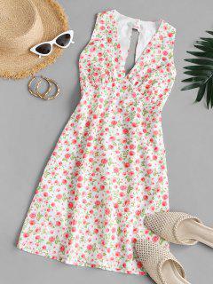 Vestido Mini Recortado Floral - Multicolor L