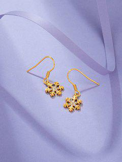 Snowflake Shape Drop Earrings - Golden