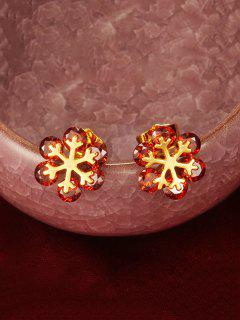 Floral Shape Zircon Stud Earrings - Ruby Red