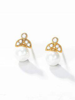 Faux Pearl Zircon Inlaid Plated Stud Earrings - Golden