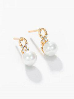 Faux Pearl Criss Cross Rhinestone Stud Earrings - Golden