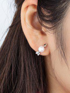 Faux Pearl Embellished Arrow Shape Stud Earrings - Silver