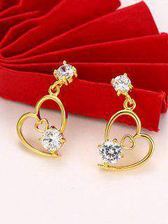 Hollow Out Heart Rhinestone Inlaid Stud Earrings - Golden