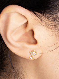 Floral Zircon Inlay Stud Earrings - Golden