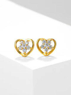 Heart-Shaped Hollow Out Zircon Flower Inlaid Stud Earrings - Golden