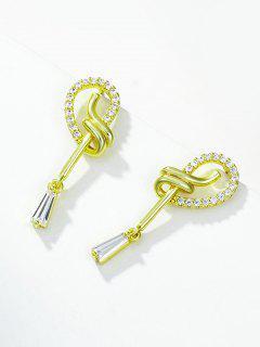 Loop Shape Zircon Inlaid Stud Drop Earrings - Golden