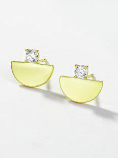 Semicircle Rhinestone Embellished Plated Stud Earrings - Golden