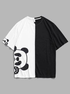 Panda Druck Zweifärbiges Kurzarm T-Shirt - Weiß Xl
