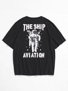 The Ship Aviation Astronaut Print Short Sleeve T-shirt - Black L