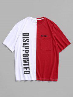 T-shirt Légère Bicolore à Fente Latérale à Manches Courtes - Rouge S