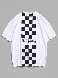 T-shirt De Emagrecimento Com Impressão De Letras De Mangas Curtas De Gola Dobradiça Para Homens - Branco M