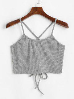 ZAFUL Criss Cross Lace Up Ribbed Plus Size Crop Top - Light Gray Xl