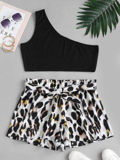 ZAFUL Plus Size One Shoulder Top And Leopard Paperbag Shorts Set - Multi L