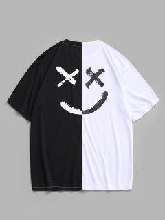T-shirt à Visage à Lettre à Deux Tons - Blanc 2xl