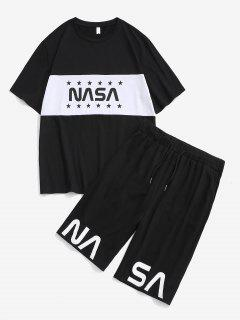 Star Letter Colorblock Tee And Shorts Two Piece Set - Black L