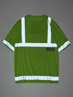 Reflective Panel Letter Print Short Sleeve T-shirt - Green S