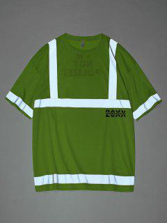 Reflective Panel Letter Print Short Sleeve T-shirt - Green M