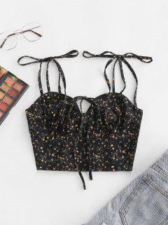 Smocked Ditsy Floral Tie Shoulder Bustier Crop Top - Black M